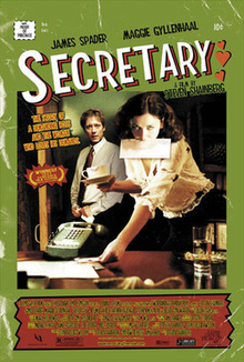 A poster for the movie Secretary, in which a young woman finds healing through BDSM play with her boss.
